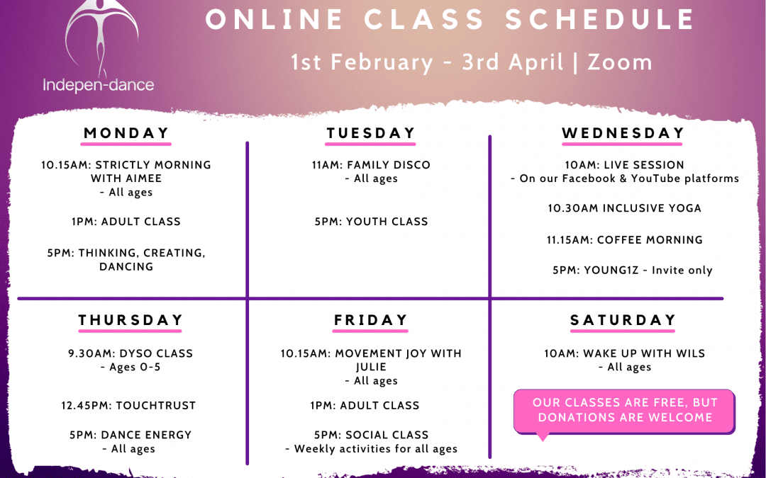 Latest Online Class Schedule – February to April 2021